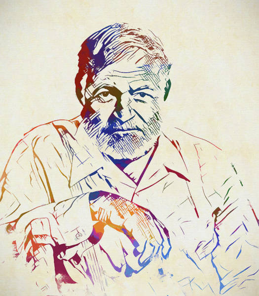 Wall Art - Painting - Ernest Hemingway by Dan Sproul