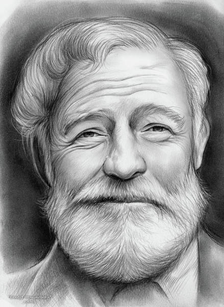 Shorts Wall Art - Drawing - Ernest Hemingway by Greg Joens