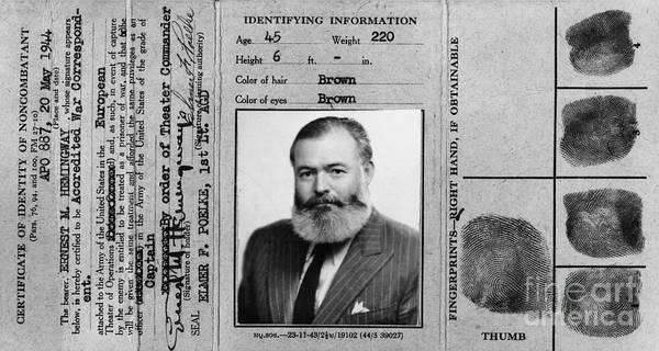 Wall Art - Photograph - Ernest Hemingway Military Identification  by Jon Neidert