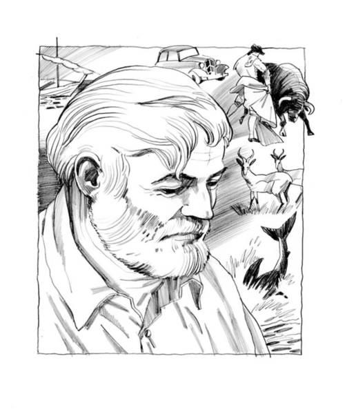 Drawing - Ernest Hemingway Portrait by Igor Sakurov
