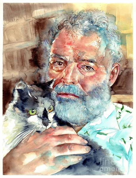 Wall Art - Painting - Ernest Hemingway Watercolor by Suzann Sines