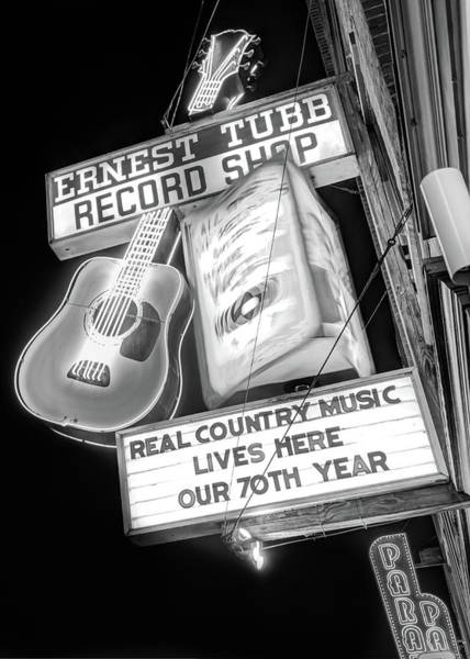 Photograph - Ernest Tubb Record Shop Neon - Nashville Tennessee Bw by Gregory Ballos
