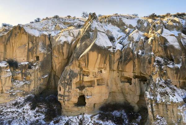 Eastern Anatolia Photograph - Eroded Volcanic Tuff Early Christian Troglodyte Cave Dwelling Rooms In Goreme National Park, Cappadocia, Turkey by David Lyons