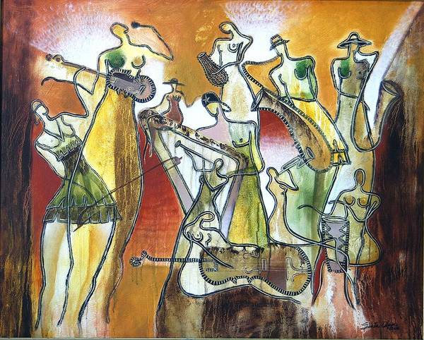 Wall Art - Painting - Erotic Ligth Orquestra by Hiremio SANTA OLAYA Garcia