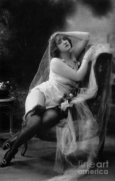 Wall Art - Photograph - Erotic Photo Of A Model Wearing Lingerie Stockings And Garters by French School