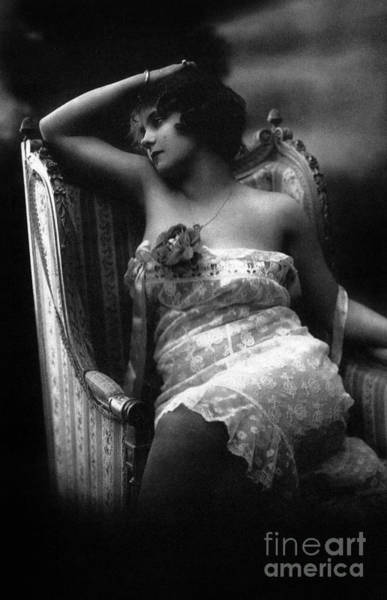Wall Art - Photograph - Erotic Photo Of A Woman Wearing Lace Lingerie In An Armchair by French School