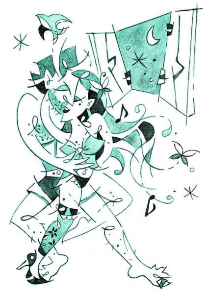 Wall Art - Drawing - Erotic Tango - Couple Dancing Illustration by Arte Venezia