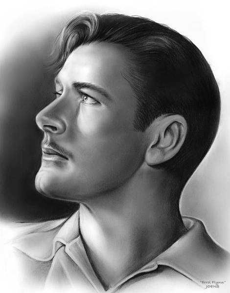 Flag Drawing - Errol Flynn by Greg Joens