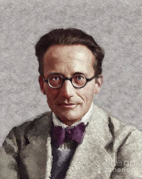 Physics Painting - Erwin Schrodinger, Famous Scientist by John Springfield