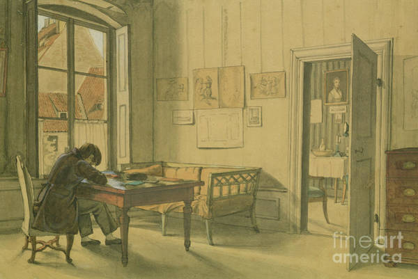 Wall Art - Drawing - Erwin Speckter In His Munich Home by Carl Julius Milde