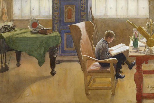 Painting - Esbjorn At The Study Corner by Carl Larsson