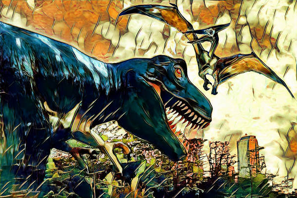 Digital Art - Escape From Jurassic Park by Pennie McCracken