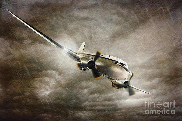 Vintage Airplane Photograph - Escape From The Storm by Amanda Elwell