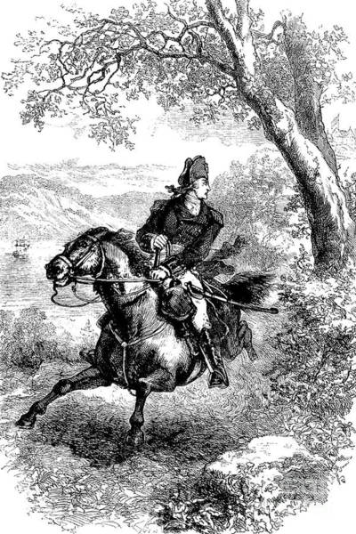 Horseback Drawing - Escape Of Benedict Arnold by American School