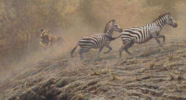 Painting - Escape Route - Zebras by Alan M Hunt