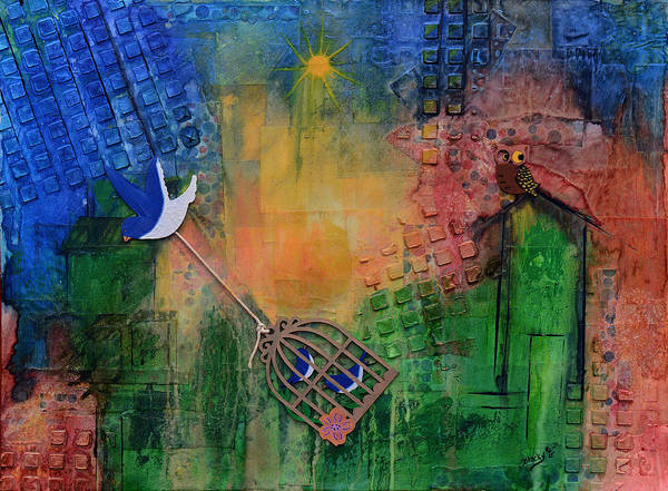Bluebird Mixed Media - Escaping The City by Donna Blackhall
