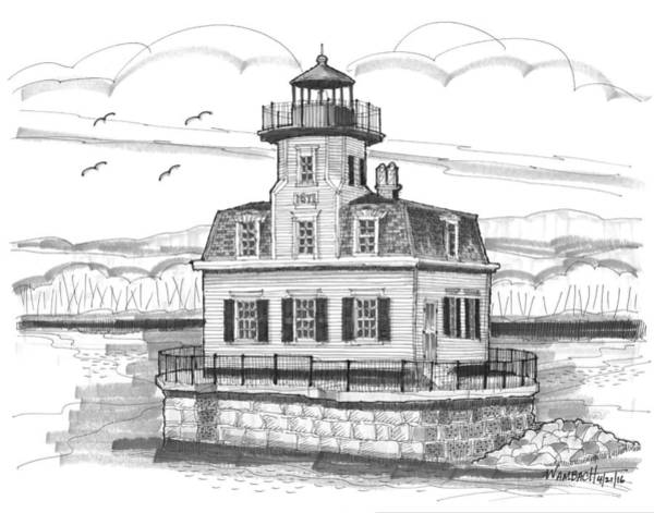 Drawing - Esopus Meadows Lighthouse by Richard Wambach