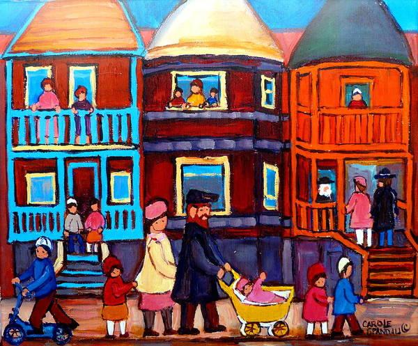 Lchaim Painting - Esplanade Street Sabbath Walk by Carole Spandau