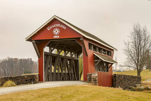 Photograph - Essenhaus Covered Bridge by Jack R Perry