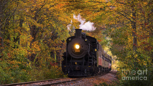 Photograph - Essex Steam Train 3025 Steaming Through Fall Foliage. by New England Photography