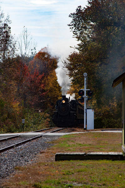 Photograph - Essex Steam Train Coming Into Fall Colors by Jeff Folger