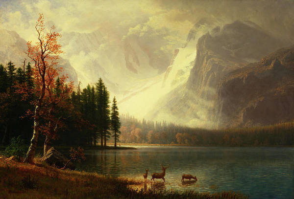 Mountain Lake Painting - Estes Park, Colorado, Bierstadt Lake by Albert Bierstadt