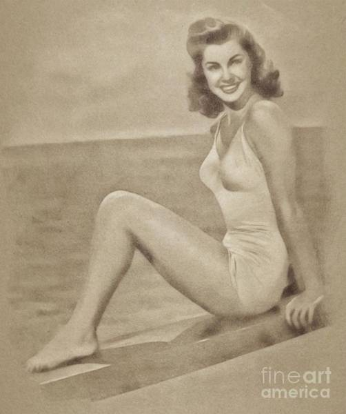 Pinewood Drawing - Esther Williams, Vintage Actress And Pinup By John Springfield by John Springfield