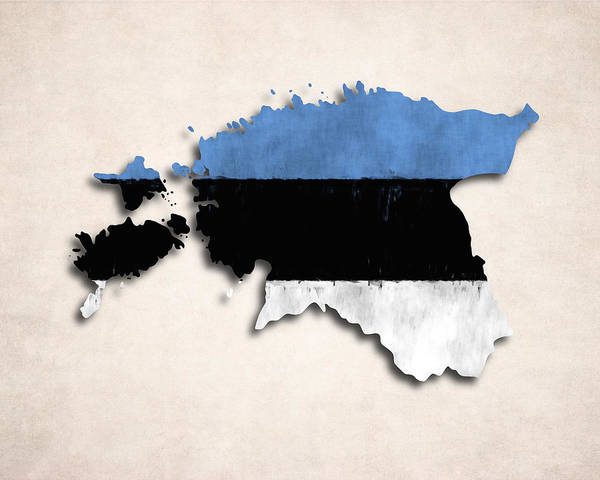 Eastern Europe Digital Art - Estonia Map Art With Flag Design by World Art Prints And Designs