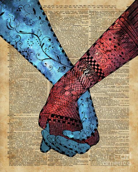 Wall Art - Digital Art - Eternal Love,holding Hands,space Design,dictionary Art,zentagle by Anna W