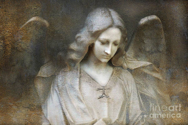 Cemetery Digital Art - Ethereal Spiritual Stone Textured Angel In Prayer by Kathy Fornal