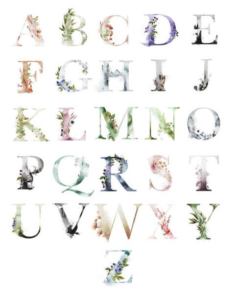Woodland Digital Art - Ethereal Woodland Boho Abc Alphabet Sampler by Pink Forest Cafe