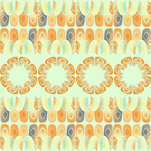 Tribal Digital Art - Ethnic Orange Pattern by Gaspar Avila