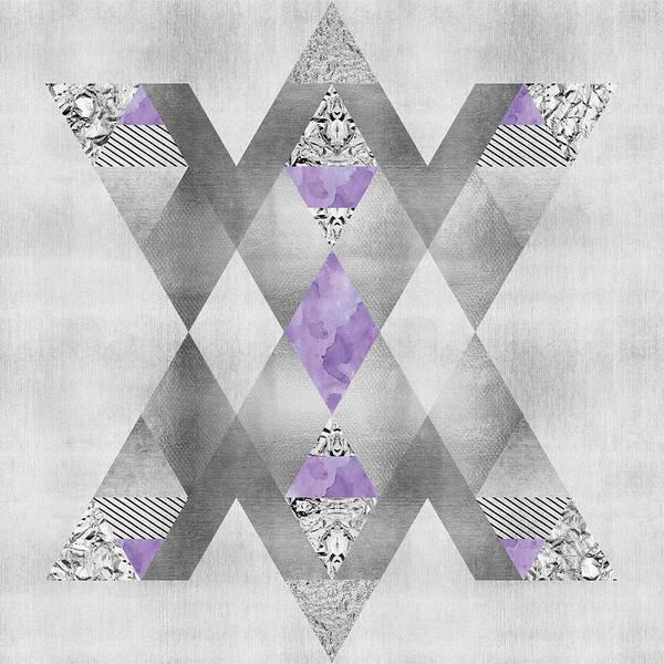 Wall Art - Digital Art - Ethno Elegance Silver And Purple by Melanie Viola