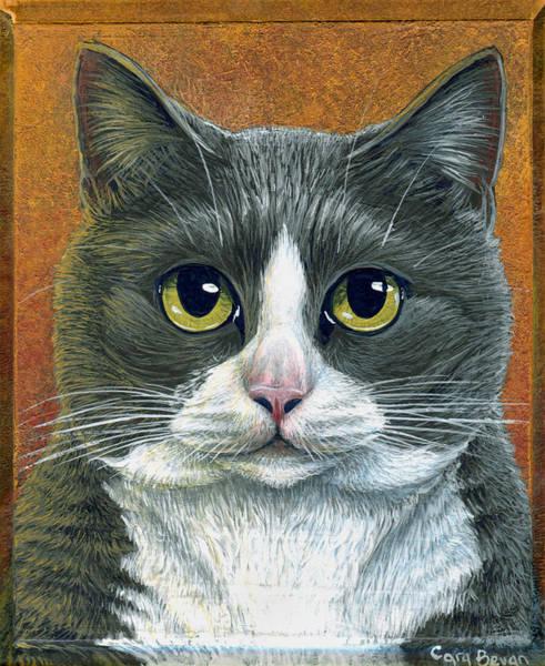 Tuxedo Cat Painting - Etna by Cara Bevan