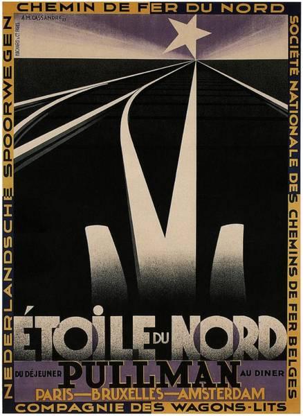 Star Track Wall Art - Mixed Media - Etoile Du Nord Du Dejeuner Pullman Au Diner - Railway Tracks - Vintage Advertising Poster by Studio Grafiikka