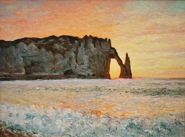 Painting - Etretat, Sunset  by Pierre Van Dijk