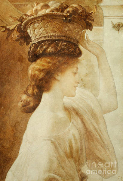 Wicker Wall Art - Painting - Eucharis  A Girl With A Basket Of Fruit by Frederic Leighton