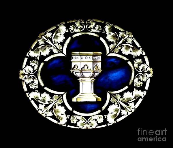 Photograph - Eucharistic Chalice Stained Glass Window Soft Effect by Rose Santuci-Sofranko