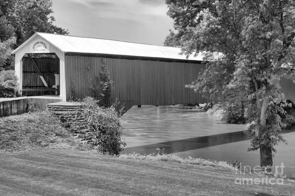 Photograph - Eugene Covered Bridge Landscape Black And White by Adam Jewell