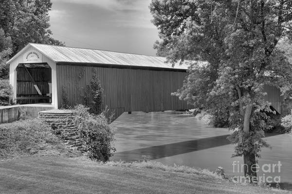 Photograph - Eugene Covered Bridge Summer Landscape Black And White by Adam Jewell