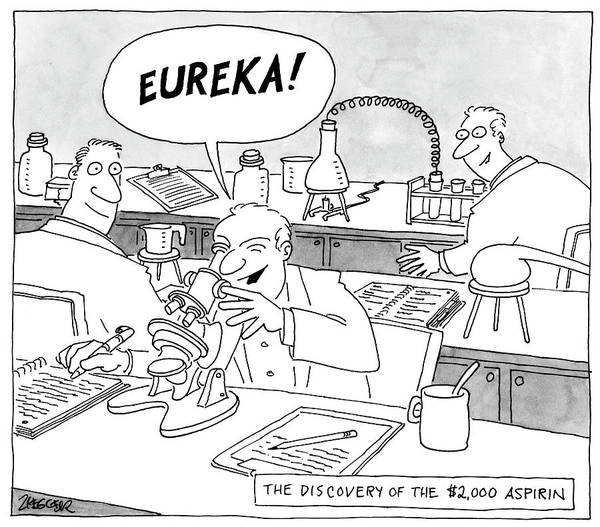Medicine Drawing - Eureka by Jack Ziegler