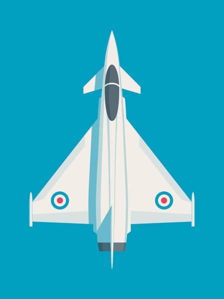Jet Digital Art - Typhoon Jet Fighter Aircraft - Cyan by Ivan Krpan