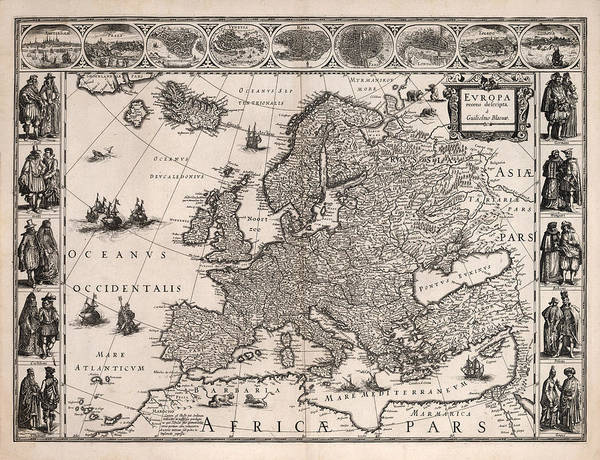 Illustrated Drawing - Europa - Antique Illustrated Map Of Europe - Geographical Map - Cities And The People by Studio Grafiikka