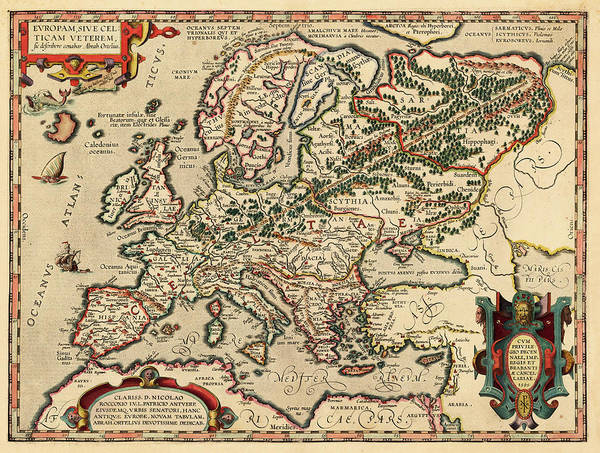 Painting - Europam Sive Celtican Veterem  by Abraham Ortelius