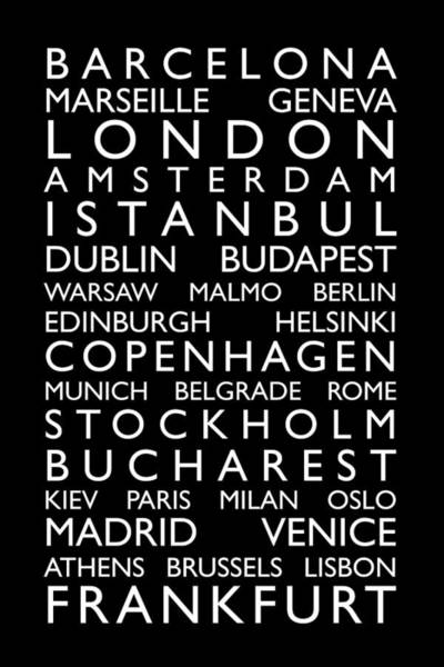 Europe Map Digital Art - Europe Cities Bus Roll by Michael Tompsett