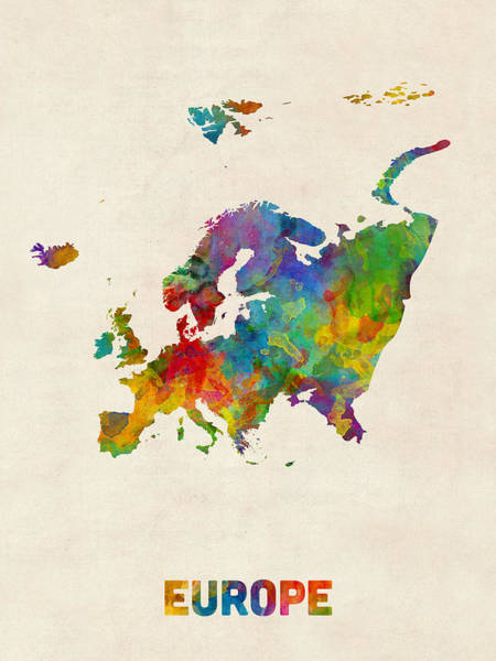 Wall Art - Digital Art - Europe Continent Watercolor Map by Michael Tompsett