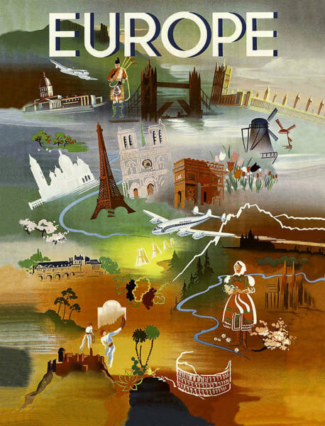 Wall Art - Painting - Europe Travel Poster by Long Shot