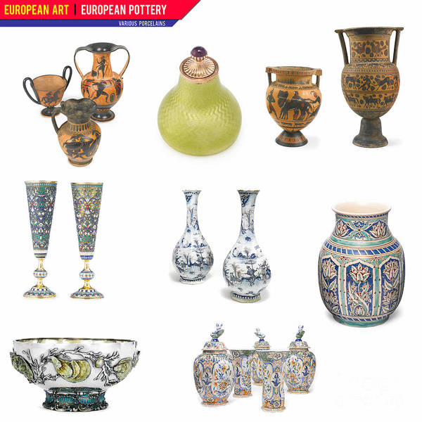 Digital Art - European Art European Pottery - Various Porcelain by Celestial Images
