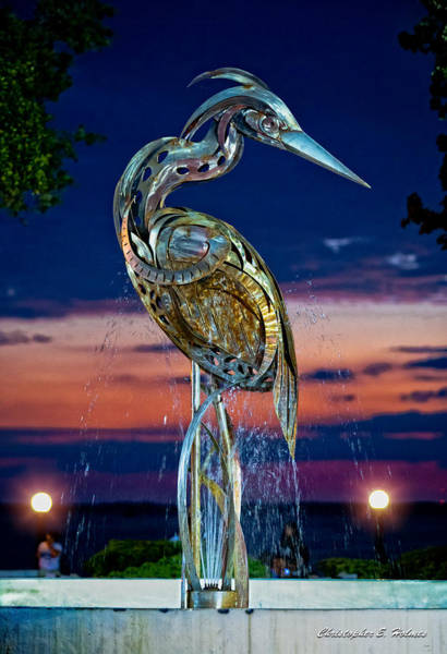 Photograph - Eustis Egret Fountain by Christopher Holmes