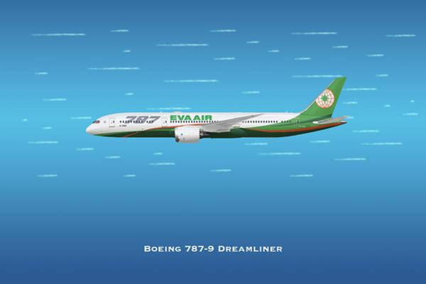 Wall Art - Digital Art - Eva Air Boeing 787 Dreaminer by J Biggadike